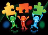 Teamwork- puzzles-black — Stock Vector