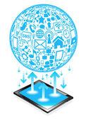 Tablet sosyal ağ — Stok Vektör