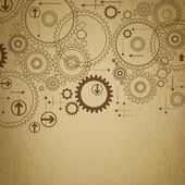 Background old paper with painted gears — ストック写真