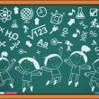 Outlines of the figures children with icons on the blackboard — Stock Vector