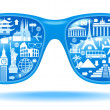 Sunglasses and travel icons — Stock Vector