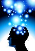 La cabeza y un destello de luz — Vector de stock