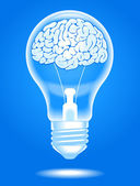 Lâmpada com cérebro — Vetor de Stock