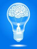 Lampe mit gehirn — Stockvektor