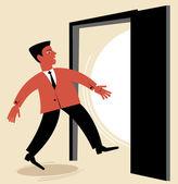 Man goes through the open door — Stock Vector
