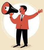Man speaks through the speaking-trumpet — Stock Vector