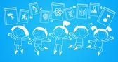 Contours des figures d'enfants avec des livres — Vecteur
