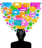 Silhouette of a human head with speech bubbles — Stock Vector