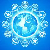 Mundo de los medios sociales — Vector de stock