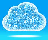 Nube de red social azul — Vector de stock
