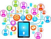 Sosyal ağ tablet — Stok Vektör