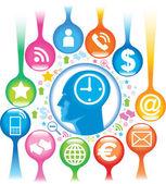Social-Media-Head — Vetor de Stock