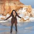 Girl on ice, outdoor — Stockfoto #15875681