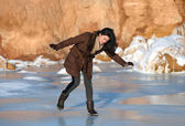 Slipping on ice — Stock Photo