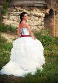 Bride looking back over her shoulder — Foto de Stock