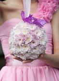 Round wedding bouquet with pink flowers — Stock Photo