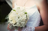 Wedding bouquet with white roses — Stock Photo