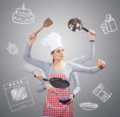 Busy housewife conceptual with many hands — Stock Photo