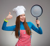 Portrait of a happy woman with the pan — Stock Photo