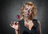 Halloween image. Female portrait with dried flowers — Stock Photo