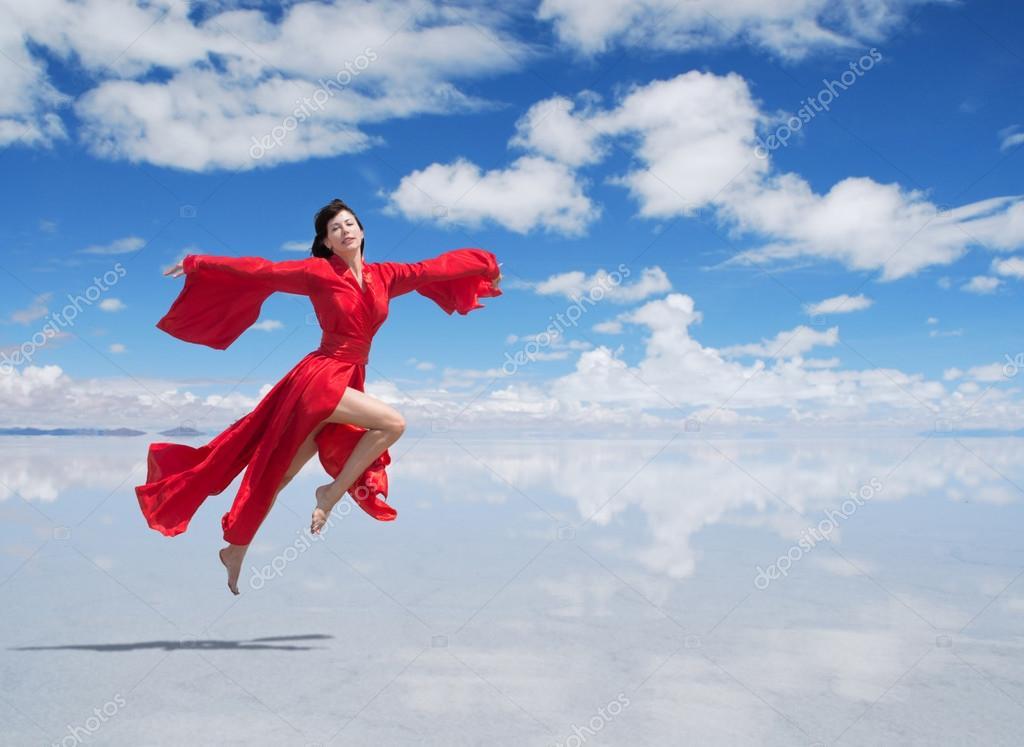 Flying woman in red kimono — Stock Photo © rod_julian ...