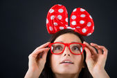 Surprised funny girl looking up — Stock Photo