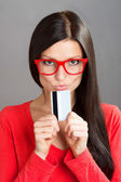 Portrait of a woman with a plastic card — Stock Photo