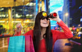 Girl looking for discount — Stock Photo