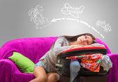 Tired girl planning her journey — Stock Photo