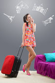 Girl planning her travel abroad — Stock Photo