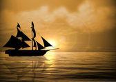 Sail Ship at Sunset — Stock Photo