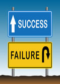 Way of Success and Failure Sign 2 — Stock Vector