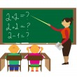 One teacher and two pupils in the classroom — Stock Vector