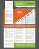 Vector empty trifold brochure template design with green and orange elements — Stock Vector