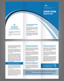 Vector empty brochure template design with blue elements — Stock Vector