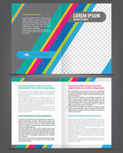 Two-fold beauty blue and pink brochure print template — Stock Vector