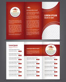 Two-fold beauty red brochure print template — Stock Vector