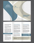 Two-fold beauty blue and gray brochure print template — Stock Vector