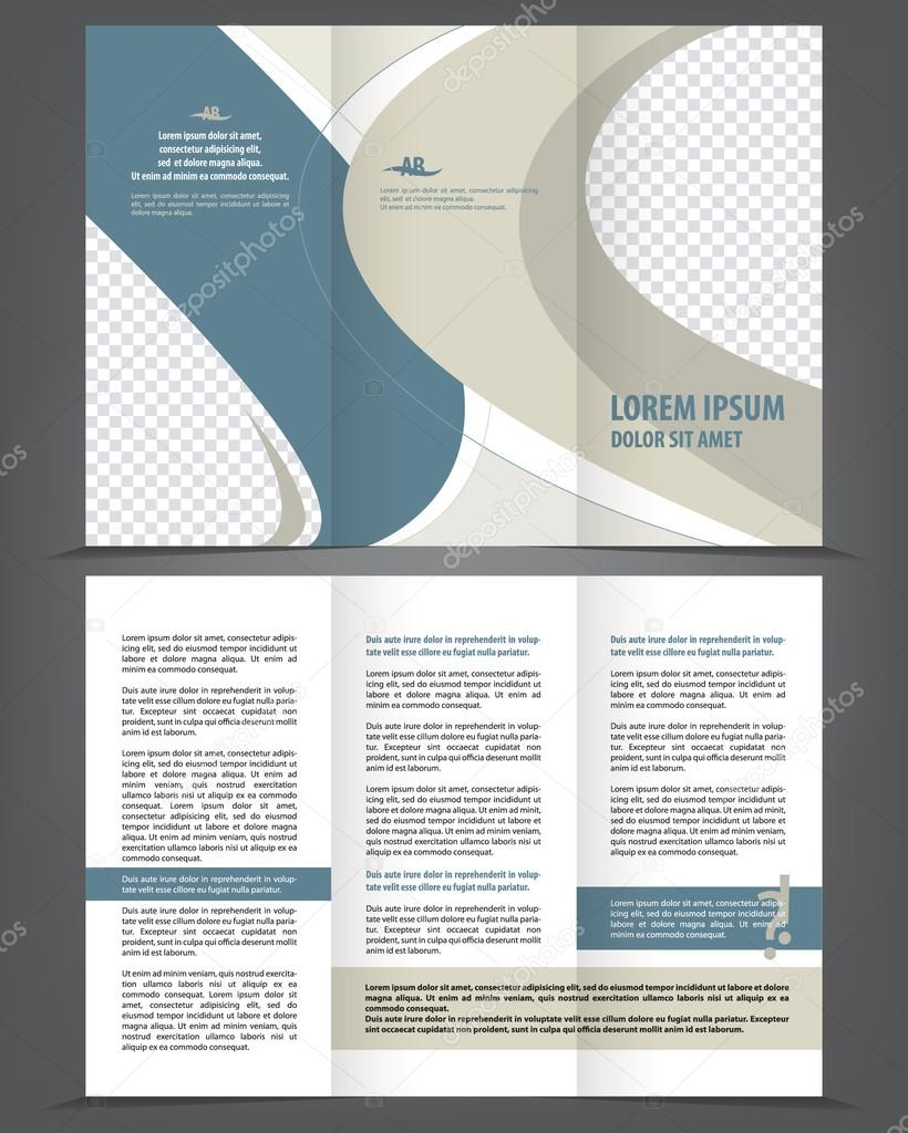 2 fold brochure template - two fold beauty blue and gray brochure print template