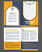 Vector empty brochure print template design with orange and dark blue elements — Stock Vector