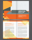 Vector empty bifold brochure print template design with orange elements — Stock Vector