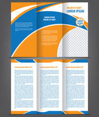 Template design with blue and orange elements — Stock Vector