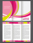 Trifold beauty pink brochure print template — Stock Vector