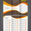 Stock Vector: Trifold business brochure print template brown design