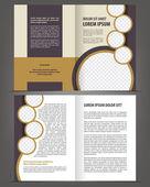 Vector empty bi-fold brochure print template design — Stock Vector