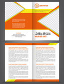 Vector empty bi-fold brochure template design with orange and gray elements — Stock Vector