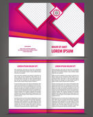 Empty bi-fold brochure print template design with violet elements — Stock Vector