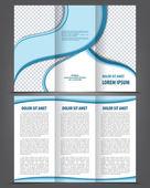 Empty trifold brochure print template blue design — Stock Vector