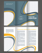 Empty trifold brochure print template design — Stock Vector