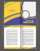 Vector empty bi-fold brochure print template design — Stock Vector